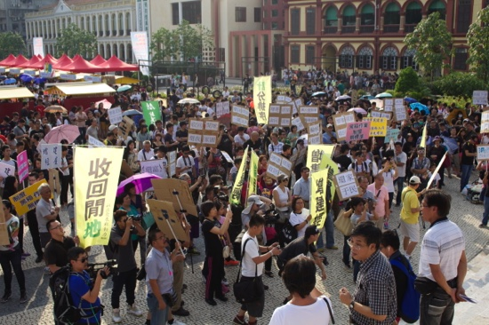 Macau protesters demand 40,000 HOS units by end-2019