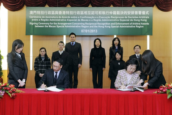 Macau, HK ink pact on arbitration co-operation
