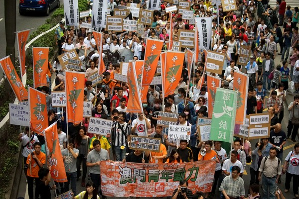 Macau labor protesters questioned by police