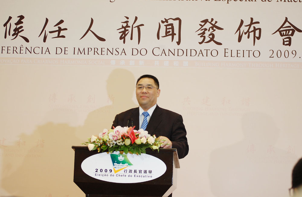 Macau´s new Chief Executive  says overcoming the effects of the financial crisis is priority