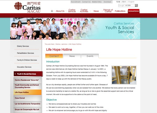 Caritas Macau's English suicide helpline gets at least 2 calls per day