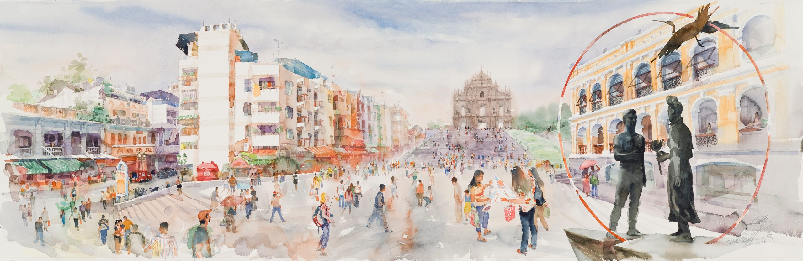 Painting of the Ruins of St. Paul's by Lio Man Cheong, 2008