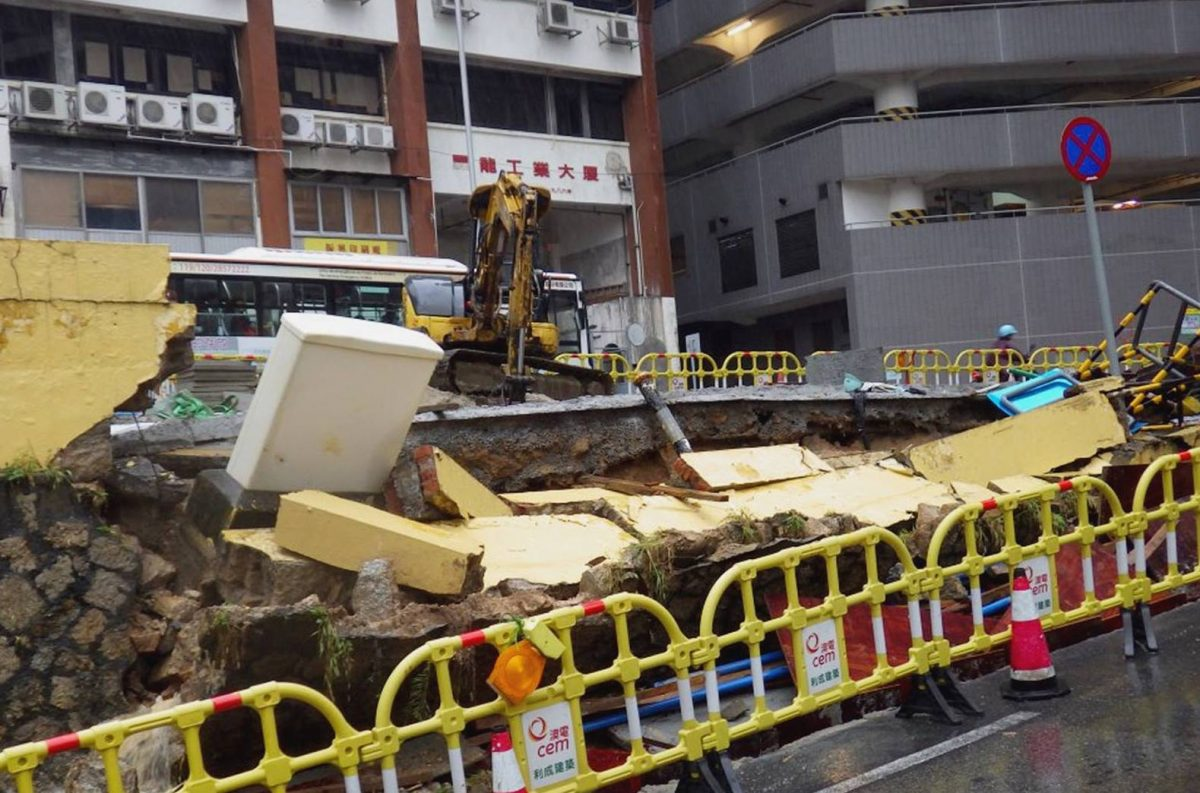 Torrential rain causes wall collapse