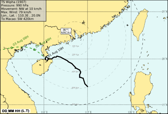 Macau at a standstill for almost 12 hours by Typhoon Wipha