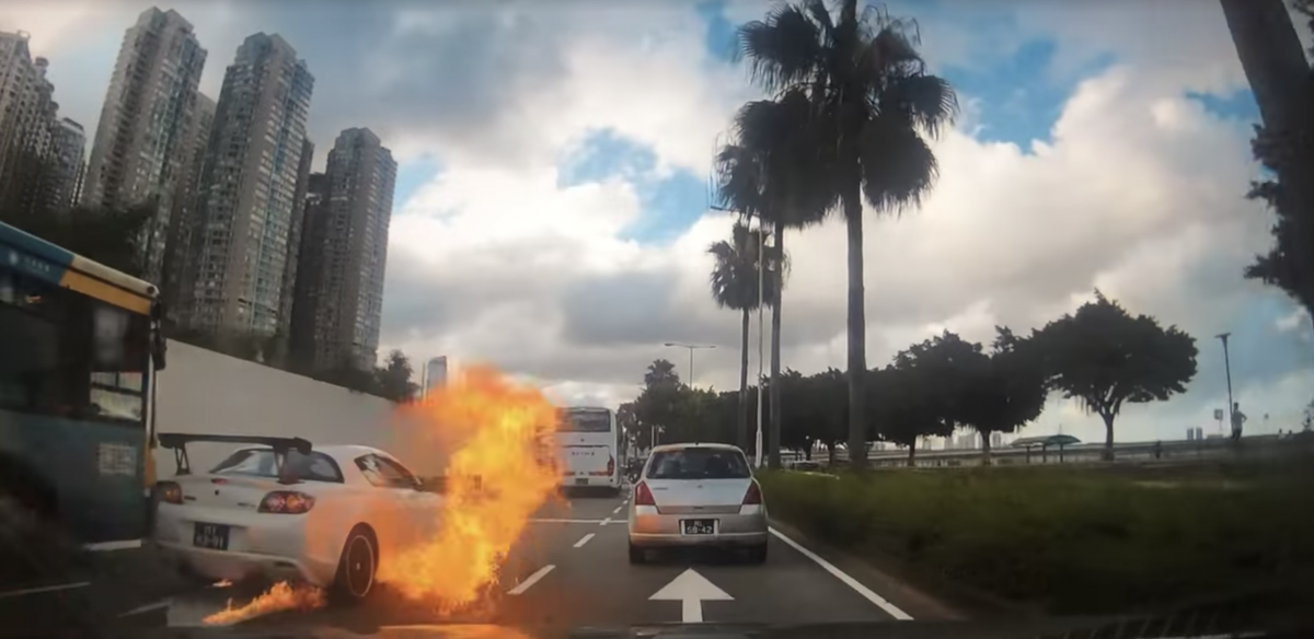 Car catches fire, driver escapes unscathed