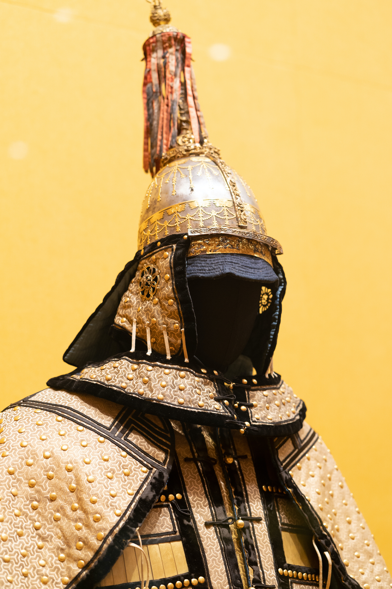 Emperor Xianfeng's Armour Suit with Gold-Woven Brocade in Herringbone Patterns and Gold Plates | Photo by Denzel Calangi