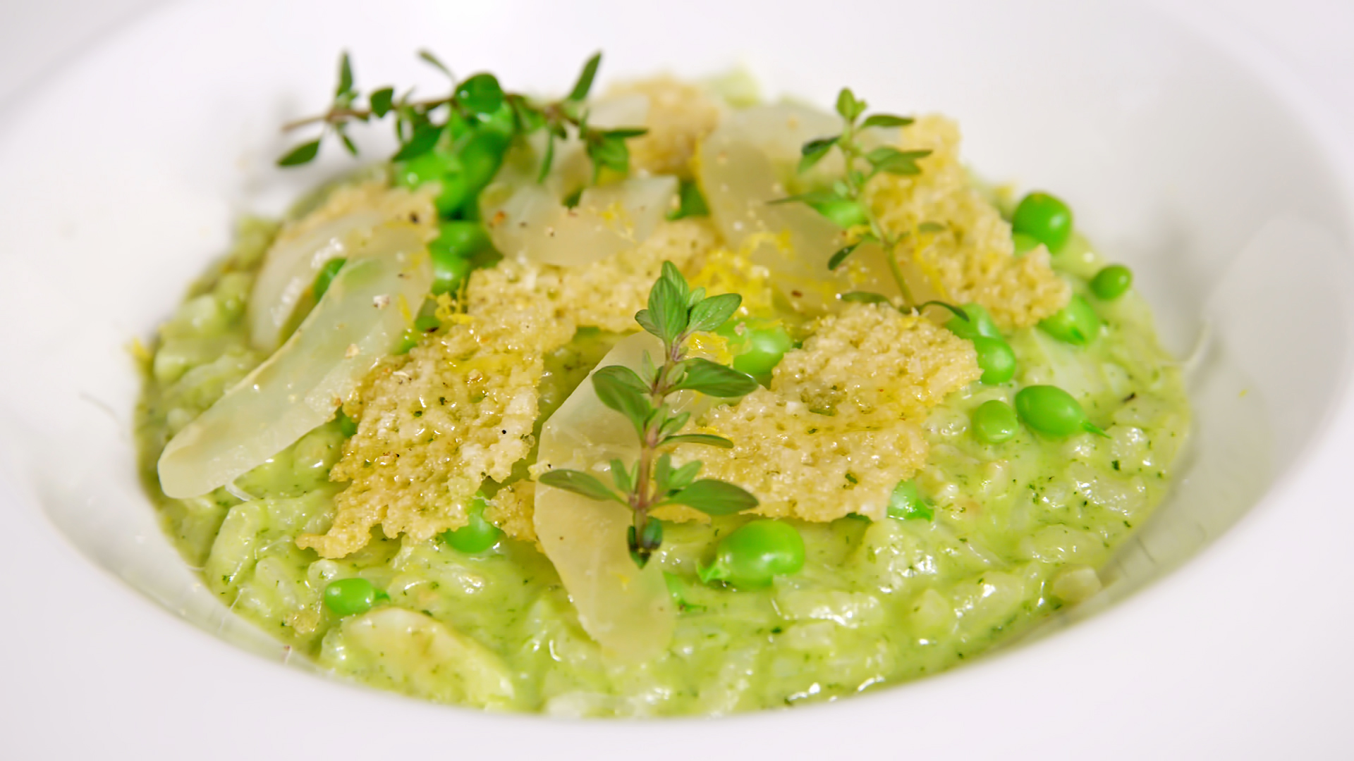 Green pea risotto with bacalhau by Chef Hans Rasmussen