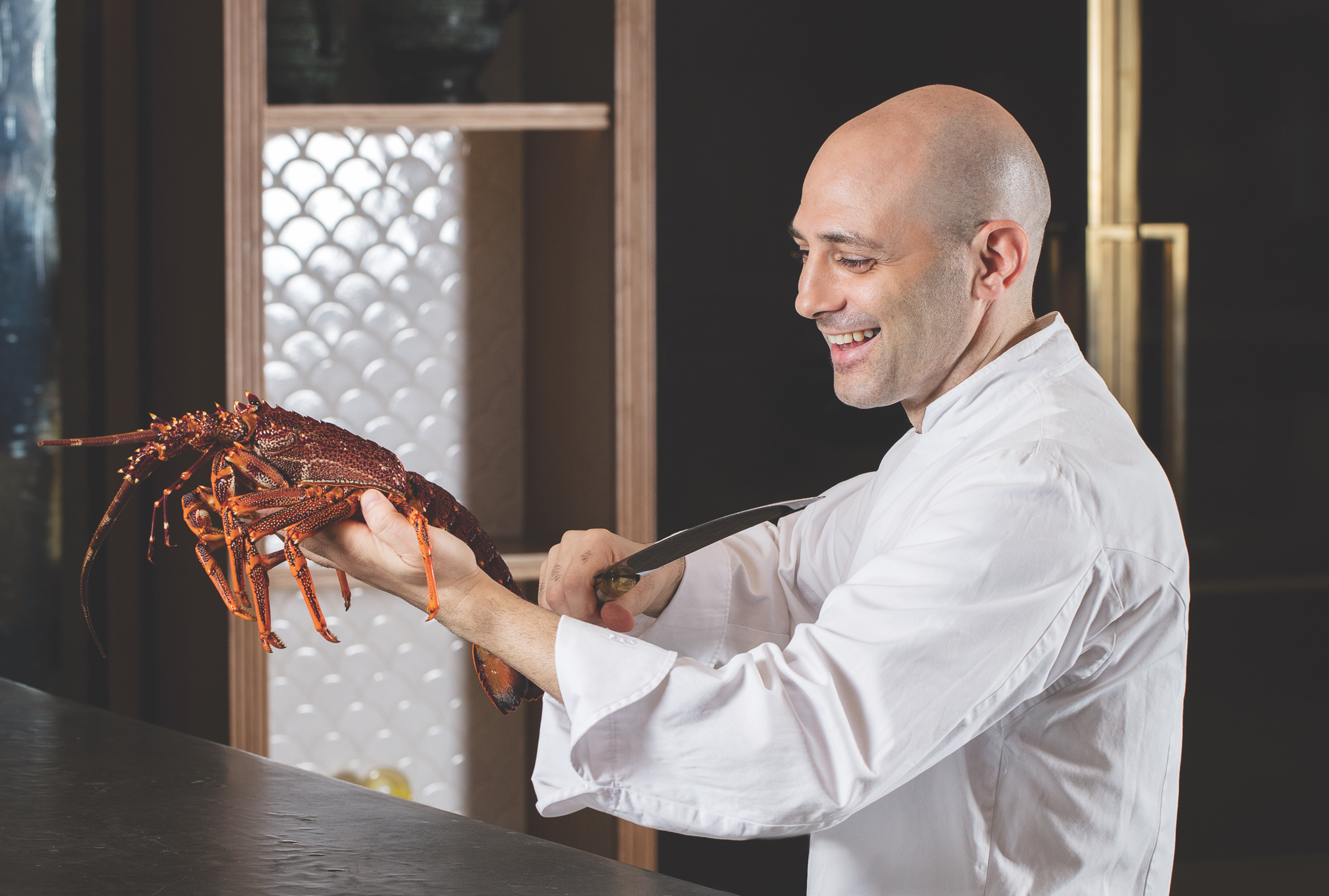 Chef Michele Portrait with Lobster