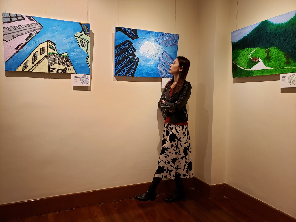 Pamela Chan at her exhibition